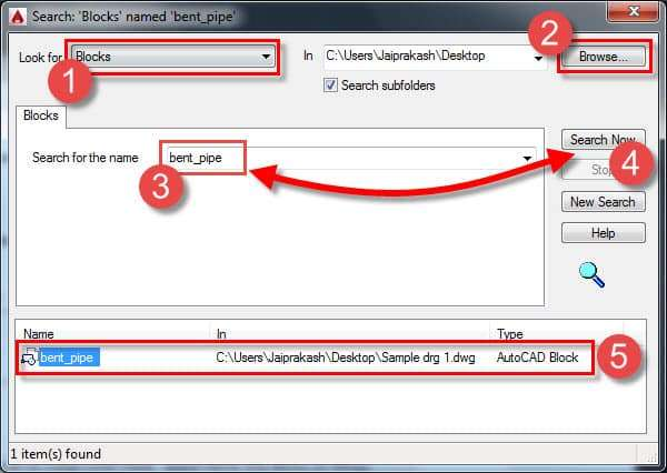 Search objects within AutoCAD drawings