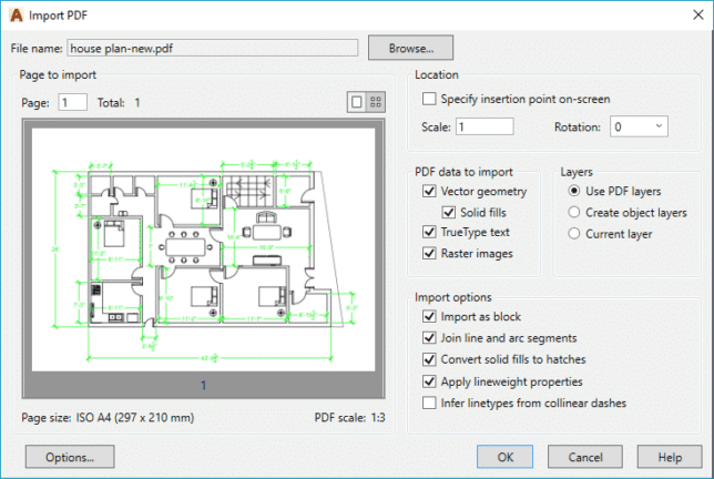 import pdf in autocad