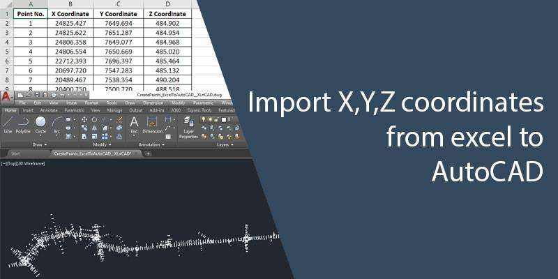 How to import x,y,z coordinate data from excel to AutoCAD